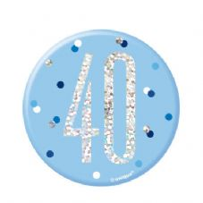 Blue Glitz '40' Birthday Badge